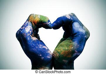 mapa, (earth, fornecido, nasa), mãos, mundo, seu