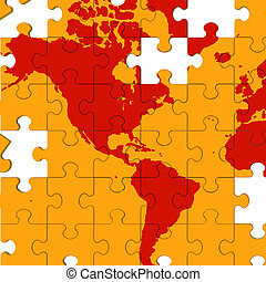mapa, efeito estufa, américa, mostra