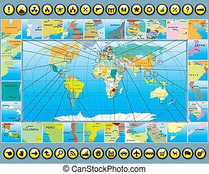 mapa, elementy, świat