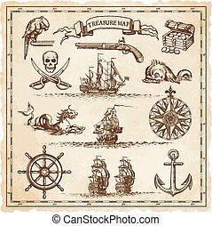 mapa, elementy, pirate-vintage, ilustracja