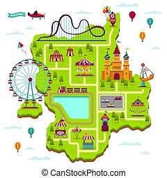 mapa, elementy, rodzina, święto, map., zabawiać, park, wolny czas, igrzyska, atrakcje, otwarty rynek, funfair, układ, rysunek, rozrywka, koźlę