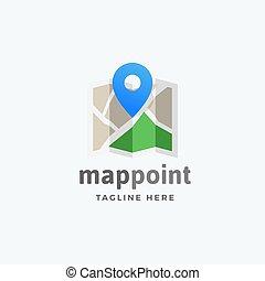 mapa, emblema, ponta alfinete, sinal, abstratos, modernos, ou, símbolo, vetorial, typography., localização, logotipo, template.