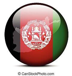 mapa, en, bandera, botón, de, islámico, república de, afganistán