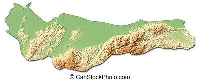 mapa en relieve, -, atlantida, (honduras), -, 3d-rendering