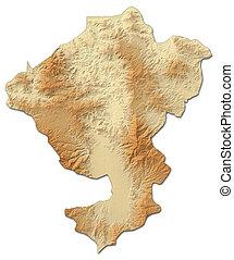 mapa en relieve, -, comayagua, (honduras), -, 3d-rendering