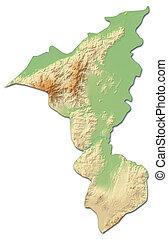 mapa en relieve, -, cortes, (honduras), -, 3d-rendering