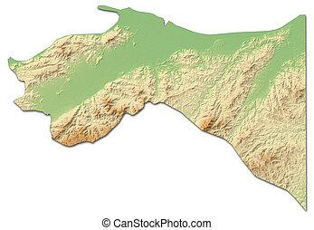 mapa en relieve, -, dos puntos, (honduras), -, 3d-rendering
