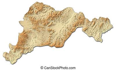 mapa en relieve, -, el, paraiso, (honduras), -, 3d-rendering