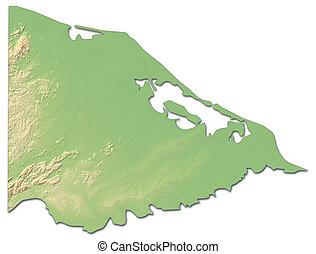 mapa en relieve, -, gracias, un, dios, (honduras), -, 3d-rendering