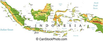mapa en relieve, indonesia