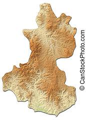 mapa en relieve, -, lempira, (honduras), -, 3d-rendering