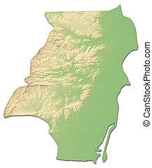 mapa en relieve, -, stann, riachuelo, (belize), -, 3d-rendering