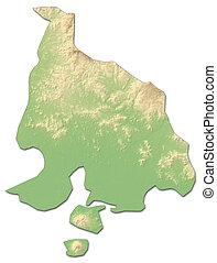 mapa en relieve, -, valle, (honduras), -, 3d-rendering