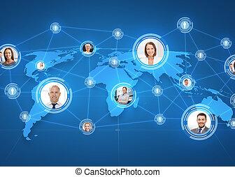 mapa, encima, businesspeople, mundo, cuadros