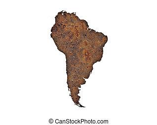 mapa, enferrujado, américa, metal, sul