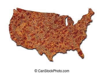 mapa, enferrujado, metal, estados, unidas, corroido, branca