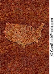 mapa, enferrujado, metal, estados, unidas, corroido