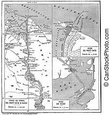 mapa, engraving., canal, suez, vindima