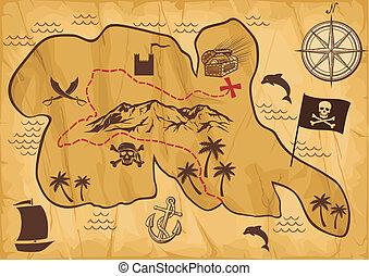 mapa, entesoure ilha