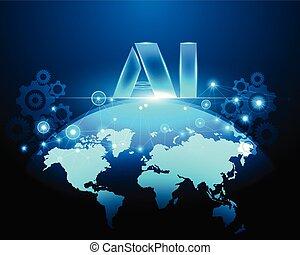 mapa, eps10, rede, negócio, ai, inteligência, internet, bigdata, ilustração, sistema, símbolos, concept.vector, conexão, cyber, circuito, digital, letra, mundo, artificial