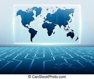 mapa, eps10, zona, negócio, digital, bigdata, cyber, sistema, símbolos, concept.vector, ilustração, circuito, online, mundo