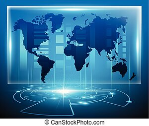 mapa, eps10, zone.vector, negócio, digital, bigdata, cyber, sistema, ilustração, online, mundo