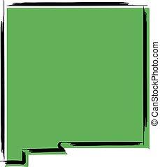 mapa, esboço, méxico, stylized, verde, novo