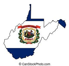 mapa, esboço, oeste, estado, bandeira virgínia