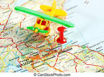 mapa, escocia, avión, edimburgo