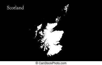 mapa, escocia, ilustración, fondo negro, canal de la alfa, ...