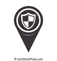mapa, escudo, sinal, proteção, ponteiro, ícone