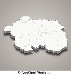mapa, eskisehir, provincia, pavo, isométrico, 3d