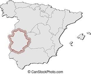 mapa estremadura espanha Mapa, espanha,  , extremadura. Mapa, linear, províncias  mapa estremadura espanha