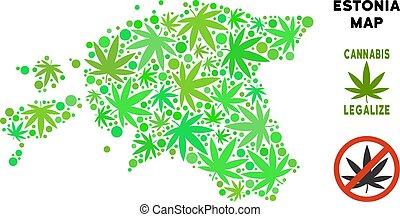 mapa, estónia, folhas, livre, cannabis, realeza, composição