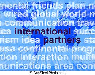 mapa, establecimiento de una red, socios, global, ...