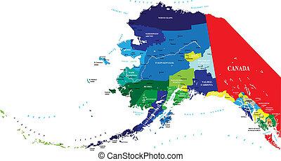 mapa, estado, alasca