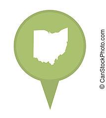 mapa, estado, alfiler, ohio