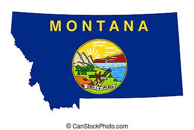mapa, estado, bandera de montana