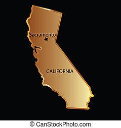 mapa, estado, california, oro