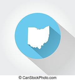 mapa, estado, de, ohio