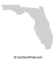 mapa, estado, flórida
