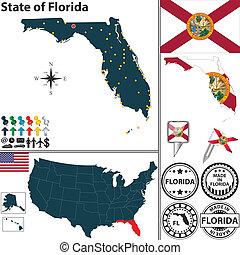 mapa, estado, florida, estados unidos de américa
