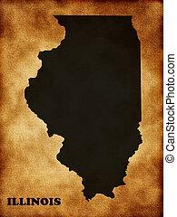 mapa, estado, illinois