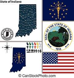 mapa, estado, indiana, estados unidos de américa