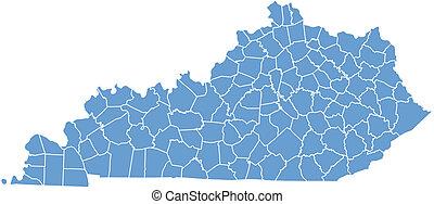 mapa, estado, kentucky
