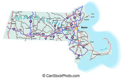 mapa, estado, massachusetts, interestatal