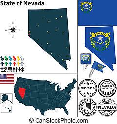 mapa, estado, nevada, estados unidos de américa