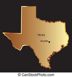 mapa, estado, ouro, texas