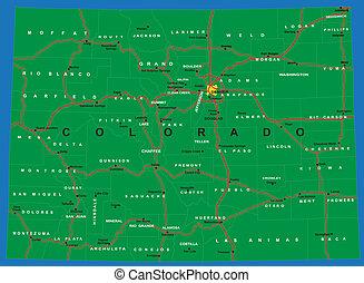 mapa, estado, político, colorado