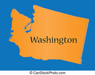 mapa, estado, washington